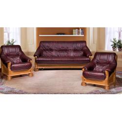 Набор Цезарь 3 (диван-кровать 3-местный + 2 кресла), дуб, натуральная кожа