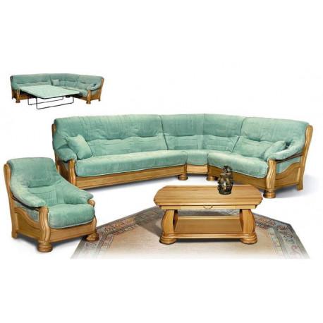 Набор Цезарь 7 (диван-кровать угловой + кресло + журнальный стол), дуб