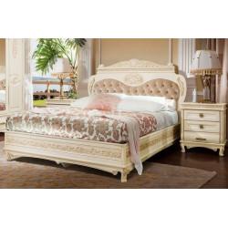 Кровать без изножья с мягким изголовьем И006.16МБ (ваниль с патиной орех)