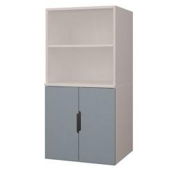 Шкаф стеллаж 2-дверный К-ШС-111 - вариант с синим фасадом