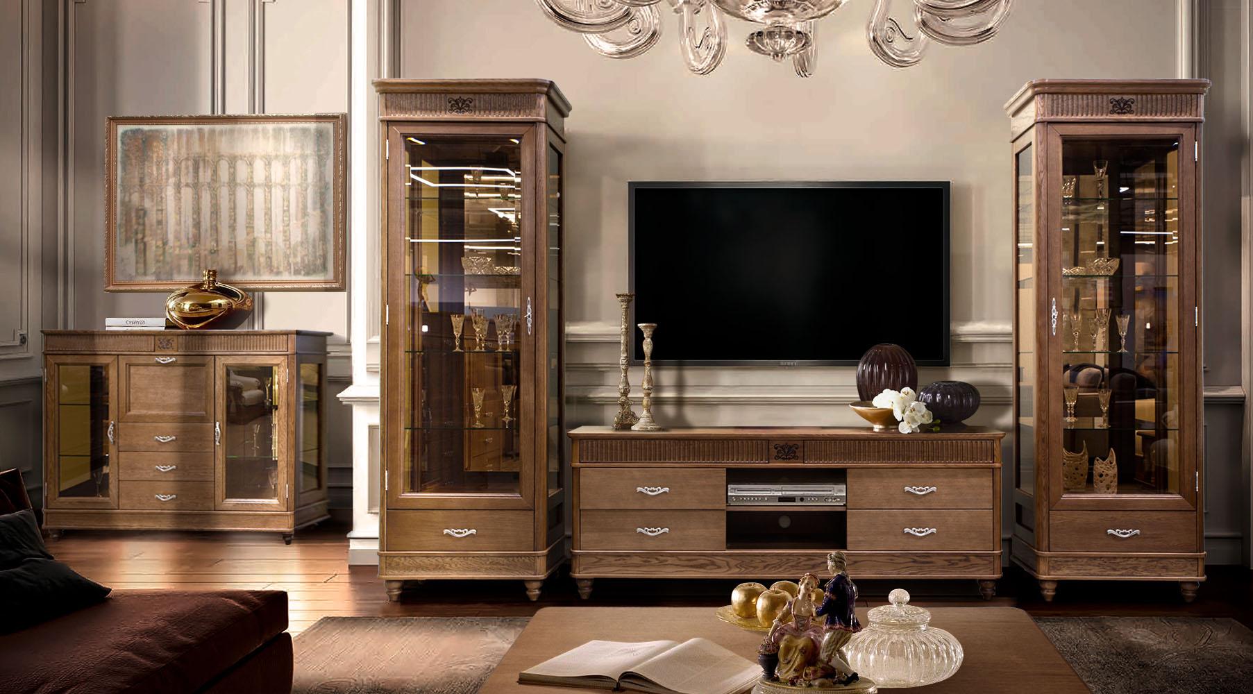гостиная в классическом стиле из дерева